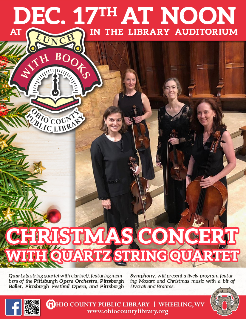 Lunch With Books: December 17 at noon - Christmas Concert with Quartz String Quartet