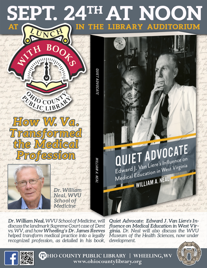 Lunch With Books: September 24 at noon - How West Virginia Transformed the Medical Profession
