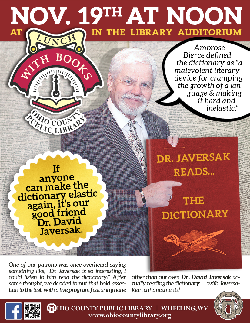 Lunch With Books: November 19 at noon - Dr. Javersak Reads the Dictionary!
